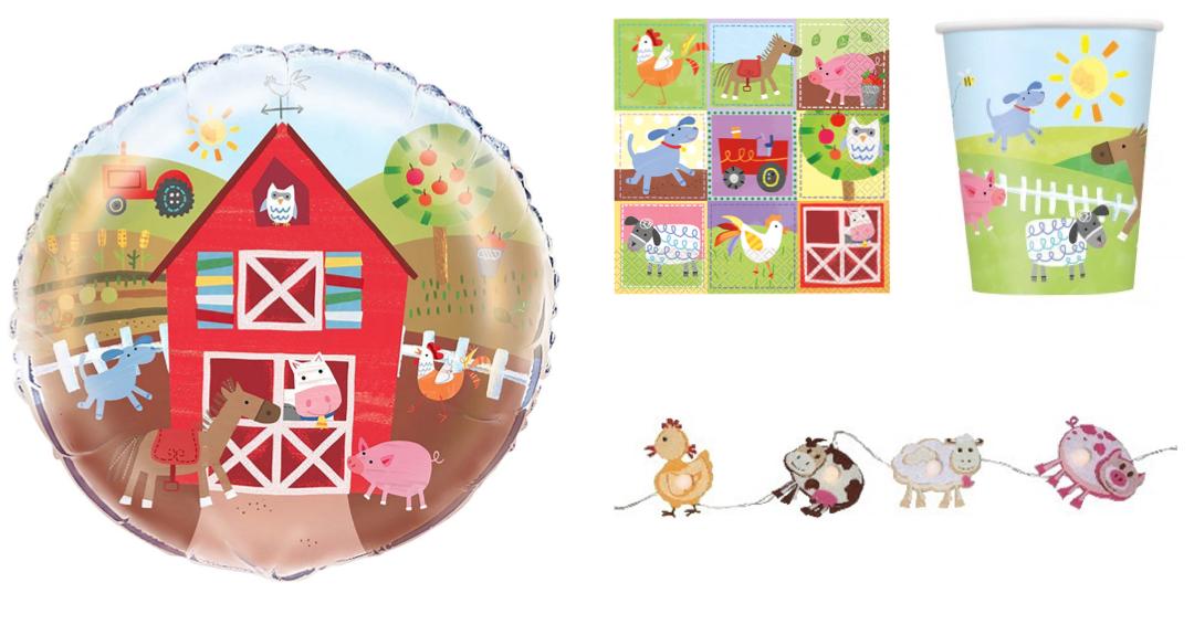 børnefødselsdag bondegårdstema bondegårdsdyr kageprint temafest